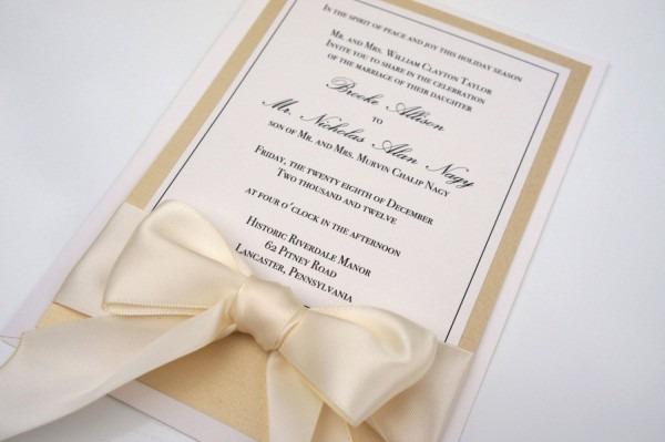 White And Gold Wedding  Gold Champagne Invitation