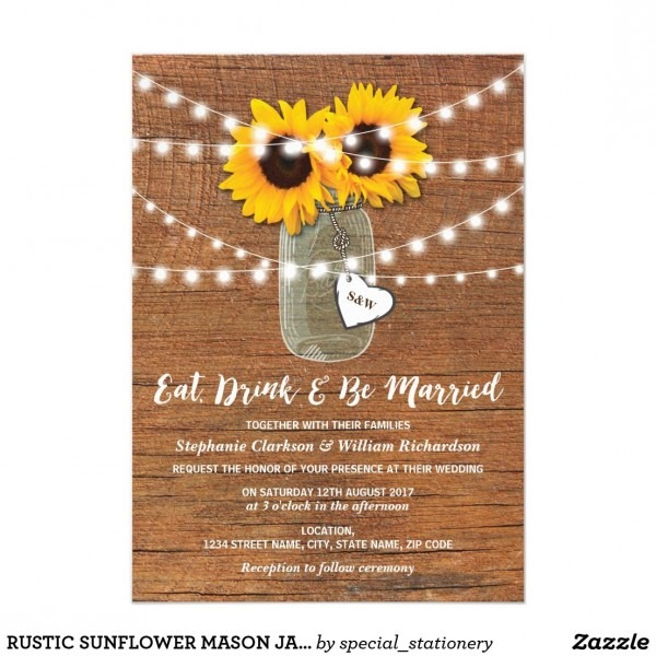 Rustic Sunflower Mason Jar Wedding Heart Card Rustic Monogram