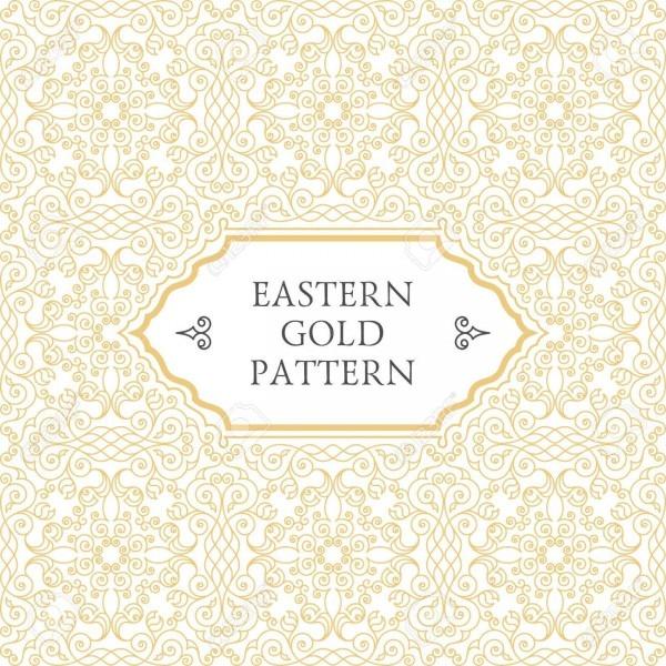Eastern Gold Frame Arabic Vector Lines Design Templates  Muslim