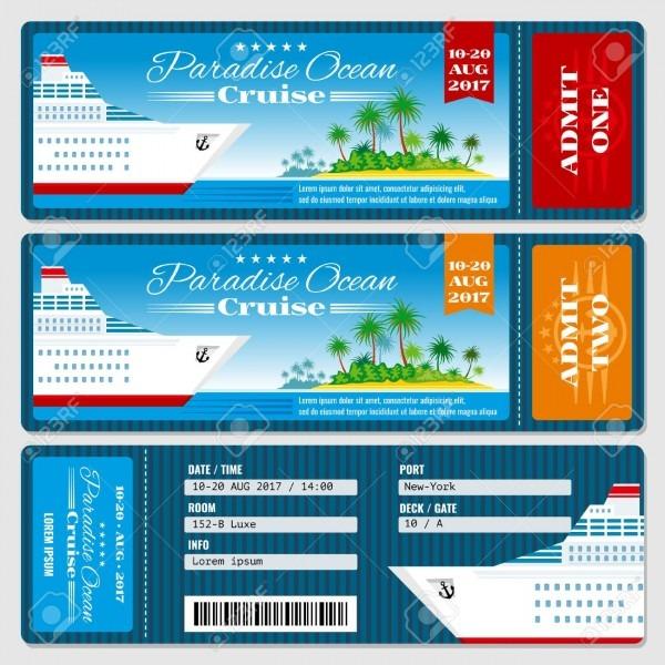 Cruise Ship Boarding Pass Ticket  Honeymoon Wedding Cruise