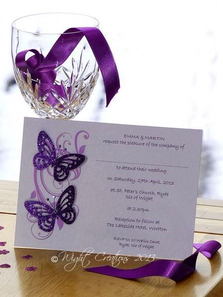 Purple Butterfly Wedding Invitation Idea , 3d Effect