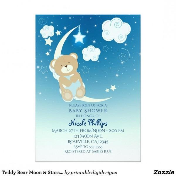 Teddy Bear Moon & Stars Baby Shower Invitations