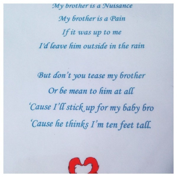 A Cute Poem At My Naming Ceremony My Brother Is A Nuisance