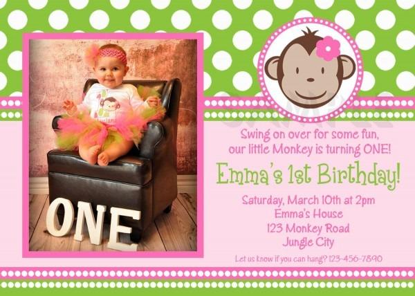 Monkey Birthday Invitation, Monkey Birthday Party, Girls Mod