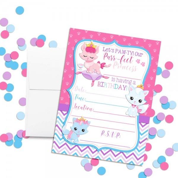 Amazon Com  Princess Kitty Cat Birthday Party Invitations For