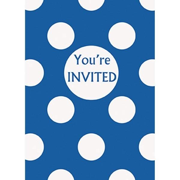 Amazon Com  Royal Blue Polka Dot Party Invitations, 8ct  Kitchen
