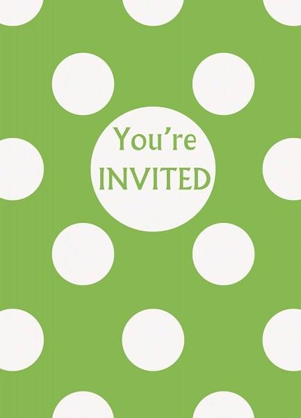 Amazon Com  Lime Green Polka Dot Party Invitations, 8ct  Kitchen
