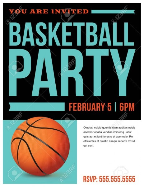A Flyer For A Basketball Party Invitation Template  Vector Eps