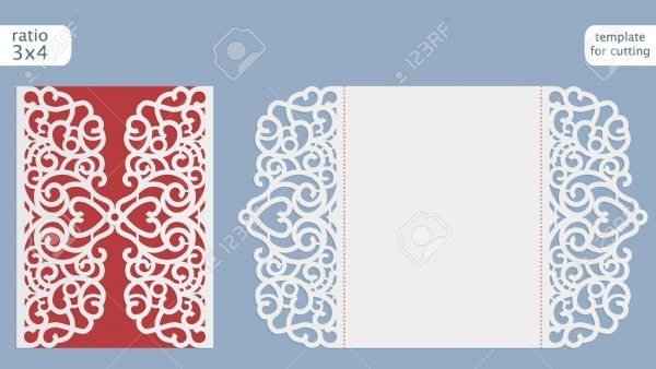 Laser Cut Wedding Invitation Card Template Vector  Cut Out The