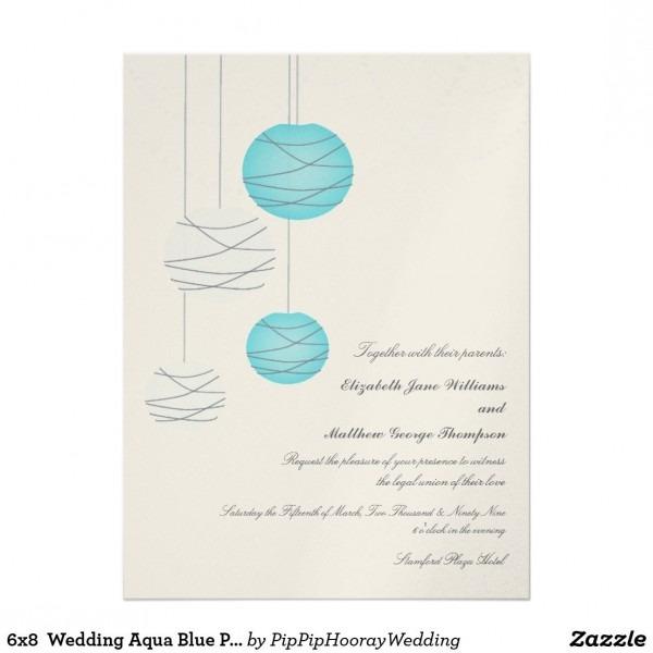 6x8 Wedding Aqua Blue Paper Lantern Metallic Card