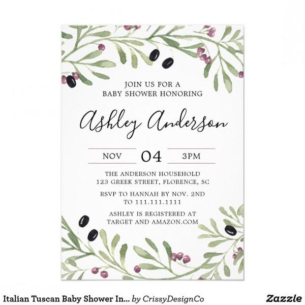 Italian Tuscan Baby Shower Invitation