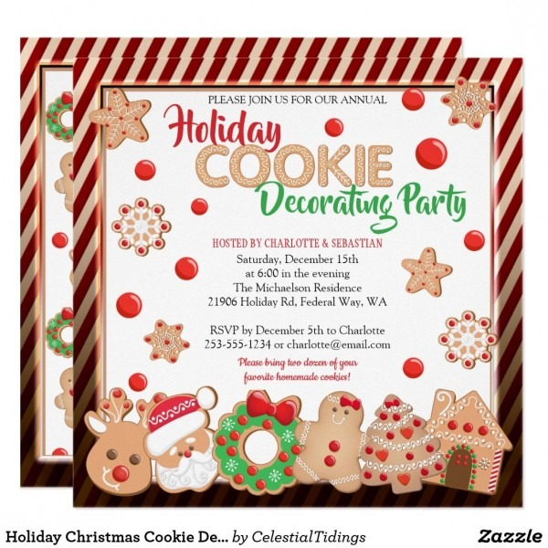 Holiday Christmas Cookie Decorating Party Invitation