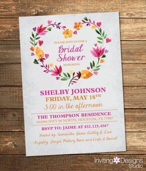 Bridal Shower Invitation, Watercolor, Floral, Spring, Summer, Pink