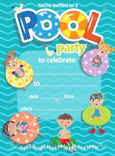 Pool Party  Invitation Template Card  Kids Fun In Pool Royalty