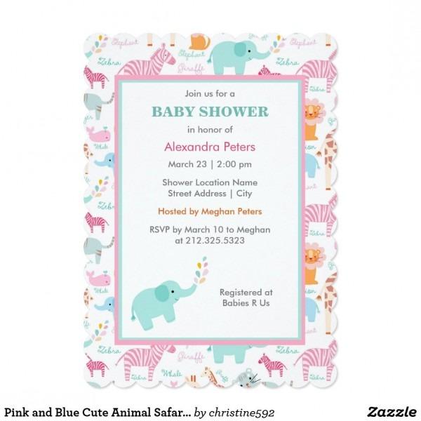 Pink And Blue Cute Animal Safari Baby Shower Invitation