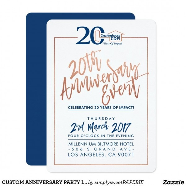 Custom Anniversary Party Invite Corporate Navy 2