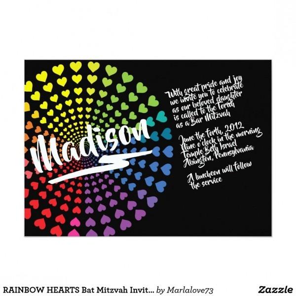Rainbow Hearts Bat Mitzvah Invitation