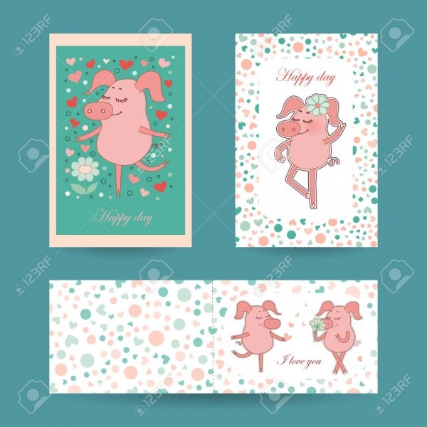 3 Lovely Cards For Valentines Day And Wedding Invitation Stock