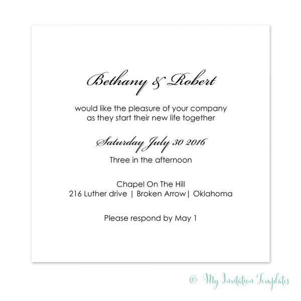 Simple Wedding Invitation Template, Diy Minimalist Square Invites