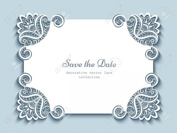 Cutout Paper Frame, Elegant Greeting Card Or Wedding Invitation