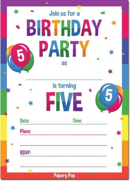 Amazon Com  Papery Pop 5th Birthday Party Invitations With