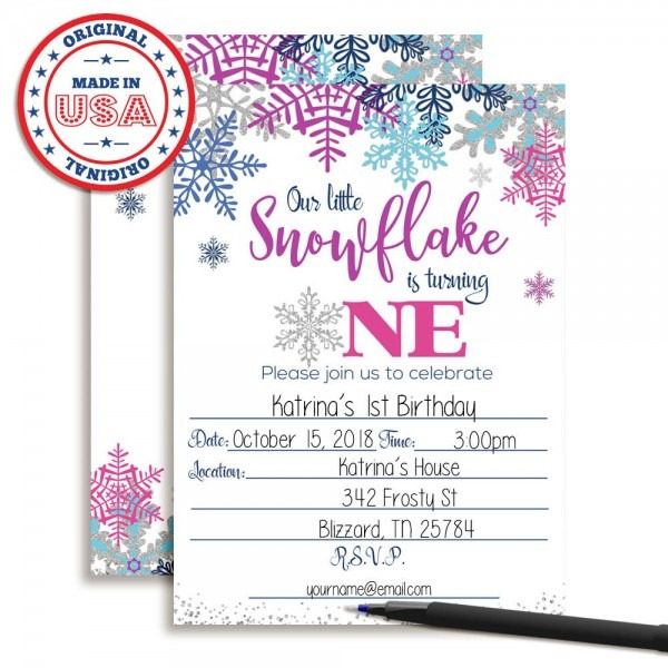 Amazon Com  Winter Snowflake First Birthday Party Invitations In