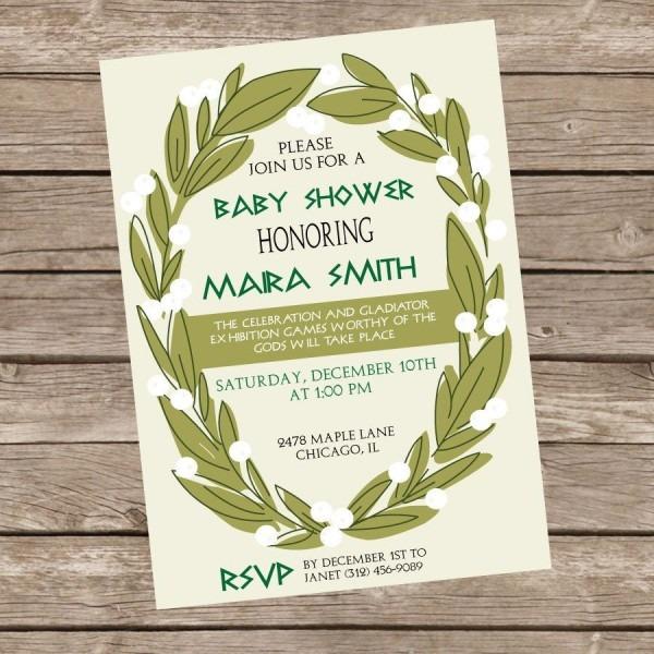 Greek Themed Baby Shower Invitation