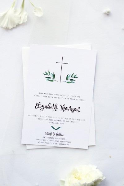 Boy Or Girl Baptism Invitation Christening Invitation