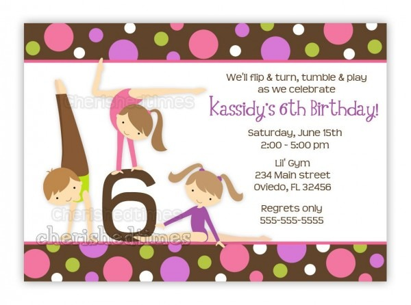 Gymnastics Girl Birthday Party Invitation With Picture Or Without