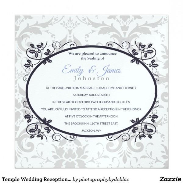 Temple Wedding Reception Invite Silver Coronation