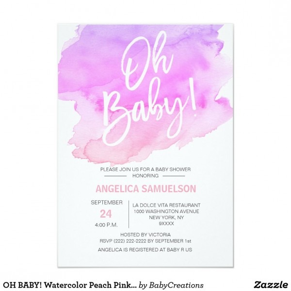 Oh Baby! Watercolor Peach Pink Purple Baby Shower Invitation