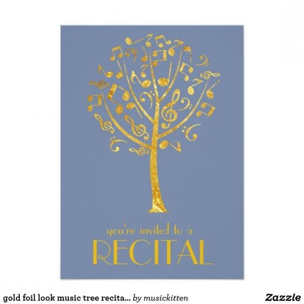 Gold Foil Look Music Tree Recital Invitation