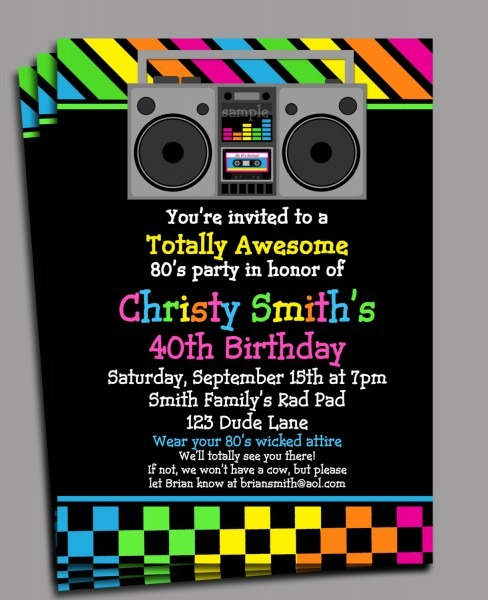 27 Images Of 80s Birthday Party Invitations Template