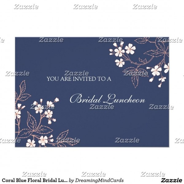 Coral Blue Floral Bridal Lunch Invitation Cards