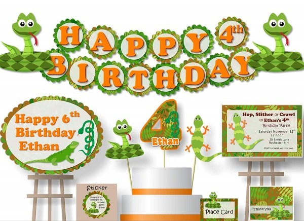 Amazon Com  Personalized Reptile Snake Birthday Party Decorations