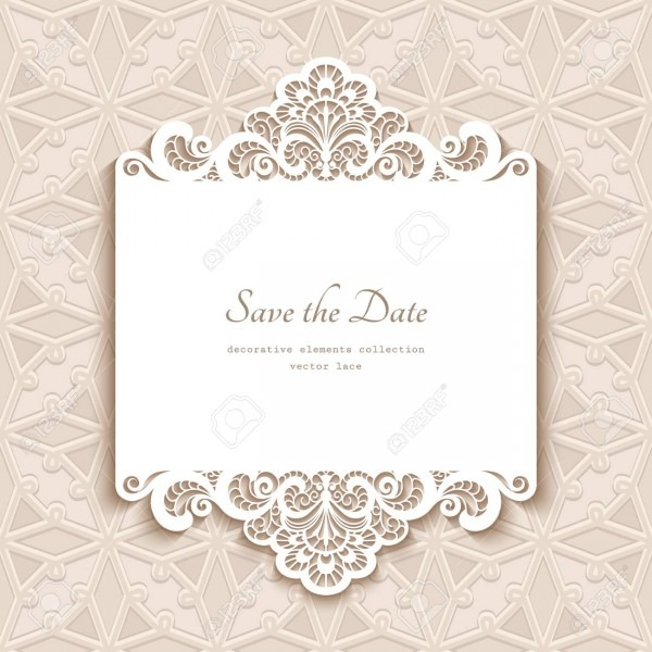 Cutout Paper Lace Frame, Greeting Card, Save The Date Or Wedding