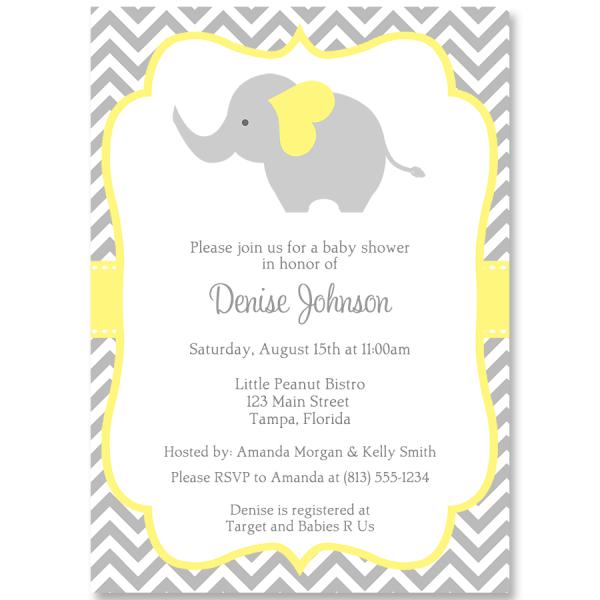 Chevron Elephant Yellow Baby Shower Invitation In 2019