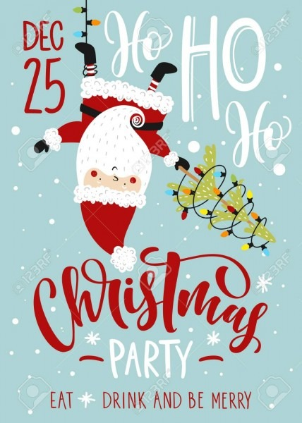 Christmas Party Invitation  Vector Template With Calligraphy