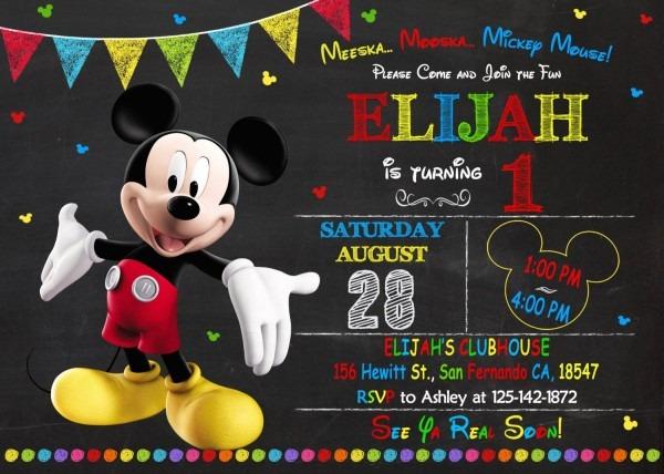 Mickey Mouse Invitation Printable Mickey Mouse By Kidiinvitation