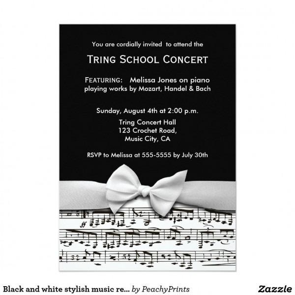 Black And White Stylish Music Recital Invitation