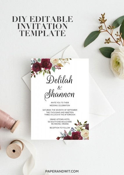 Editable Wedding Invitation Template Floral, Marsala Wedding