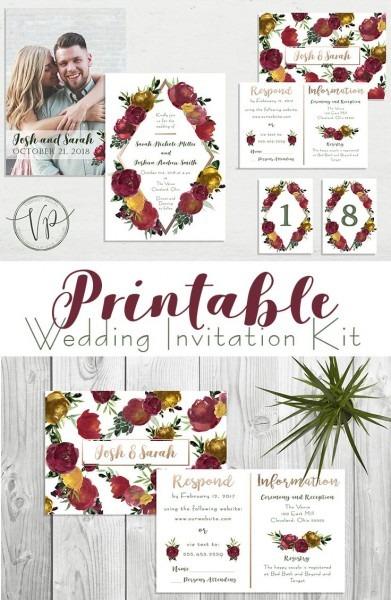 Fall Inspired Wedding Invitation Kit  Red, Yellow, Maroon, Green