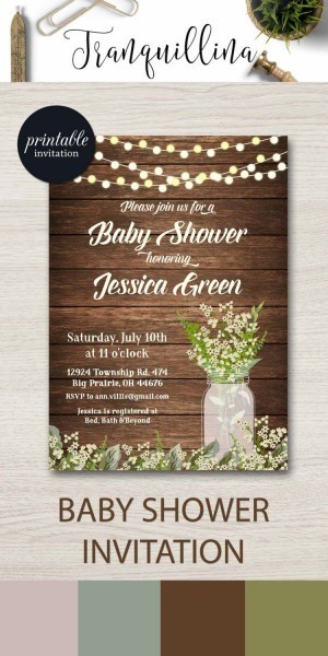 Rustic Baby Shower Invitation Printable, Mason Jar Baby Shower