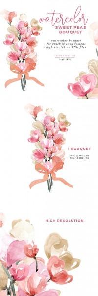 Watercolor Sweet Peas Bouquet Clipart, Wedding Invite Clipart