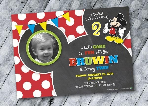 Mickey Mouse Birthday Invitation Design, 2 Year Old Boy