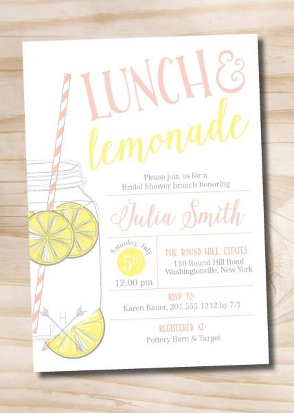 Lunch And Lemonade Mason Jar Bridal Shower Invitation, Casual