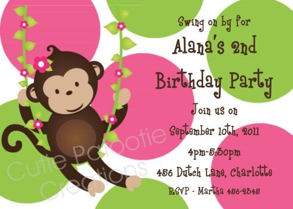 Monkey Birthday Invitation Mod Monkey Birthday Party Invitation