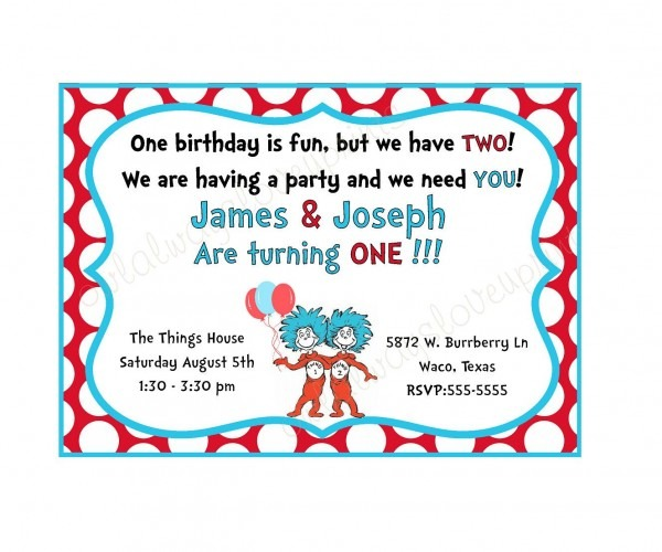 Thing 1 And Thing 2 Birthday Party Printable Invitation