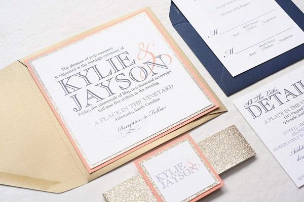 Amazon Com  Custom Square Wedding Invitation With Glitter Band