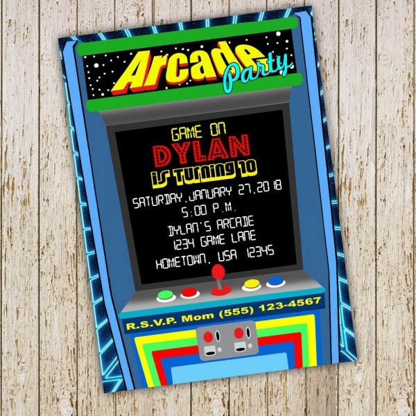 Arcade Birthday Invitation, Arcade Invitation, Gamer Invitation